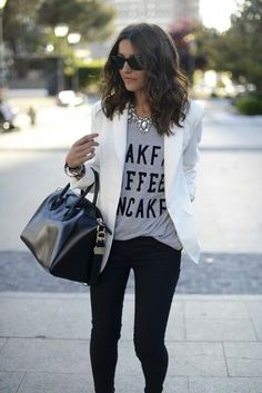 Black skinnies w/ white blazer
