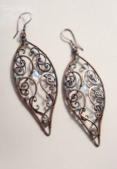 BIg Leaves  oxidized copper earrings wire wrapped by TemporalFocus, €65.00