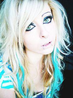 Bibi Barbaric emo scene hair style blonde blue curly eyes make up by ♥ BiBi BaRbArIc ♥, via Flickr