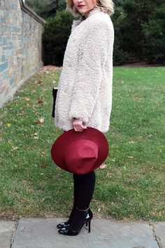 Poor Little It Girl - Ali Ro Burgundy Dress, Anthropologie Sherpa Coat, Sole Society Ankle Strap Black Heels and Lulu's Burgundy Wool Fedora...
