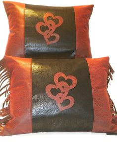 Valentine's Day Black 3 Hearts Western Pillow by BurtonLeatherCo, $20.00