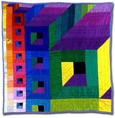 Windows on the Square 2(x) by Iris Gowen, made in silk. Time Squared art quilt exhibit