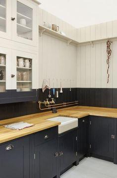 butcher blocks, color, british, black cabinets, sink, paint, countertop, kitchen cabinets, white kitchens