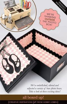 We've embellished, altered and adjusted a variety of bare photo boxes. Take a look at these exciting ideas!