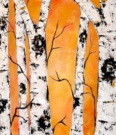 Golden Birch Trees by Kristen Dougherty