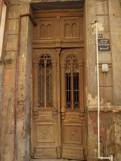 An old door to a building in Alexandria Egypt