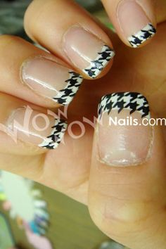 nail tips, french manicures, houndstooth nail, french tips, alabama