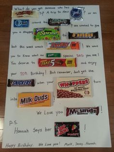 Fathers Day candy poem | Candy Poem | Pinterest