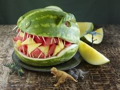 healthy party snacks, fruit bowls, fruit salads, birthday parties, food, watermelon carving, dinosaur party, kid parties, themed parties