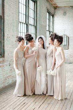 muted palette bridesmaids | New York City wedding by Amanda K Photography