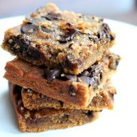 Flourless Chocolate Chip Chickpea Blondies with Sea Salt {vegan, gluten-free & healthy} | Ambitious Kitchen
