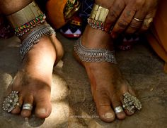Foot jewelry of Lambani Gypsy Tribals, forest dwellers, now settled in 30-home hamlets in rural Karnataka, India. Related to the Rabaris gyp...