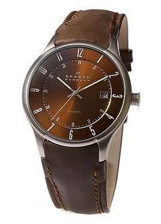 Skagen Denmark Men's Automatic  Movement Brown Leather Band-Brown/Silver/Brown