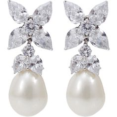 FANTASIA JEWELRY Cubic Zirconia Pearl Drop Earrings found on Polyvore