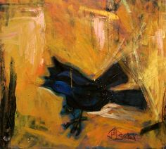 Grackles - oil, charcoal, graphite on canvas
