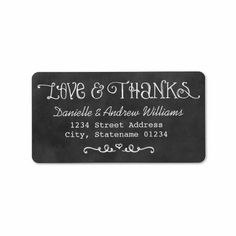 Love and Thanks Return Address | Black Chalkboard Personalized Address Labels