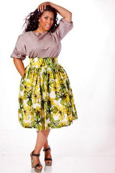 JIBRI Plus Size High Waist Flare Skirt (Costa)