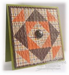 handmade quilt card ...  brown, orange and vanilla ... like the placement of the the colorls to embphasize the design of squares within squares ... Stampin' Up!