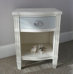 Refinished furniture vintage nightstand white, Kaity's Room