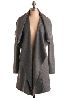 Globetrotting in Grey Coat | Mod Retro Vintage Sweaters | ModCloth.com - StyleSays