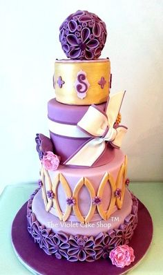 Purple and Gold ~  A little different; nice work ~ Wedding Cake  ~ all edible