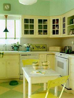 yellow kitchen, cuisin kitchen, vintage kitchen, kitchen cabinets