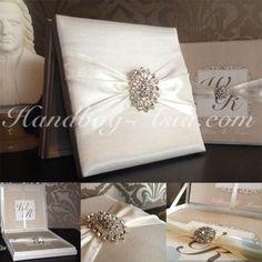 Luxury Wedding Invitation Box - Off-White with imported rhinestone crystal from Europe