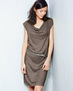 Eileen Fisher Hemp & Cotton Drape-Neck Dress $158.00