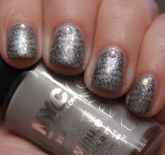 For this mani I used:  Base Colour: NYC, Sidewalkers, a-England, Morgan Le Fay  Stamping colour: Barry M, Black  Stamp: BM 222  Rhinestones: Andrea Fullerton  Top Coat: Seche Vite.