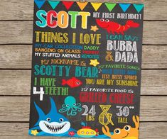 First Birthday Chalkboard Under The Sea Birthday Poster PRINTED Summer Birthday Party Beach Party Ocean Pool Party First Birthday Boy Sign #kids #quotes