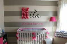 kids room- grey and pink. Love the stripes.