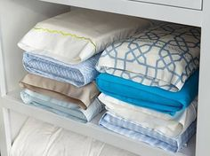 Store bedlinens inside their matching pillow case for an easy store!