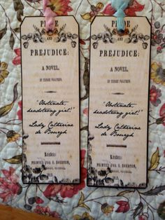 BLUE RIBBONED  Jane Austen Bookmark Pride by thesamplergirlknits, $3.00
