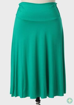 Any Time Curvy Plus Midi Skirt In Jade
