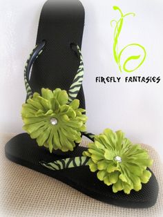 Wild Flowers - Lime Green and Black Zebra Print Flip Flops with Big Flowers and Rhinestones