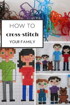 How to cross-stitch your family portrait Make your own pattern.