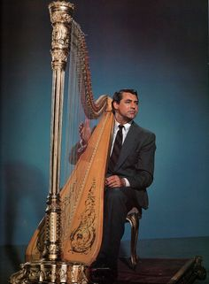 Cary Grant with a harp. I have so many questions