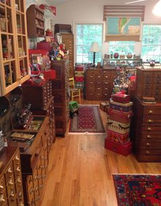 Card cabinet craft room. (Collage Candy: It's studio tour time again! Where Bloggers Create 2014.)