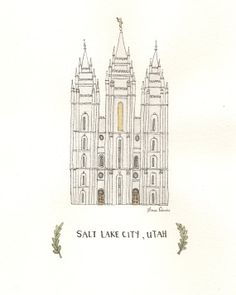 Salt Lake City Utah Temple   Archival by mysweetroseillustrat, $20.00  I love this as an alternative to a traditional temple photo in your home