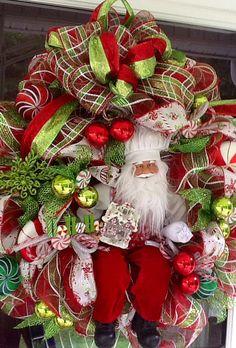 Santa's Workshop Deco Mesh Wreath by WreathsEtc on Etsy, $199.00