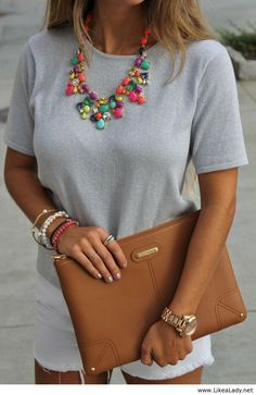Love this color scheme and the neon necklace...and that sleek, flat clutch.