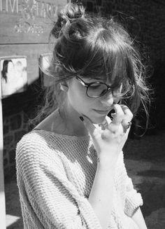 Bangs + Oversized Sweater + Glasses