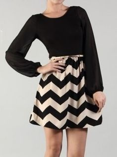 Black and Beige Chevron Dress with Chiffon Top - $33.99 : FashionCupcake, Designer Clothing, Accessories, and Gifts