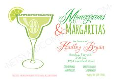 Monograms and Margaritas Bridal Monogram Shower Preppy Coral Lime Chevron Wedding Download Printable Party 2 sided 5x7 horizontal Invitation