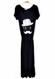Black Cartoon Appliques Drawstring Modal Dress