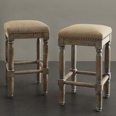 Renate Linen Counter Stools (Set of 2)