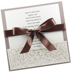 ribbon, bow, diy wedding pocket invitations