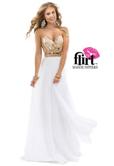 Flirt+Prom's+fully+beaded+bodice+with+sweetheart+neckline+and+lightly+gathered+chiffon+A-line+skirt.+Zipper+back+closure.