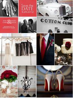 elegant black white and red wedding