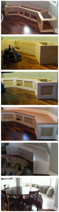 DIY Built-in Banquette dining rooms, diy ideas, window benches, the bay, kitchen tables, breakfast nooks, bay windows, kitchen nook, window seats